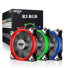 Aigo, R3 3-Pack RGB LED 120mm Adjustable Color Case Radiator Fan